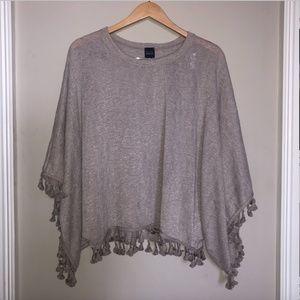 Tan Lightweight Short Sleeve Sweater, Tassels- OS
